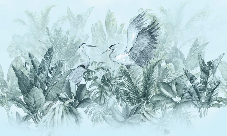 Фотообои «Тропические кусты с аистами»