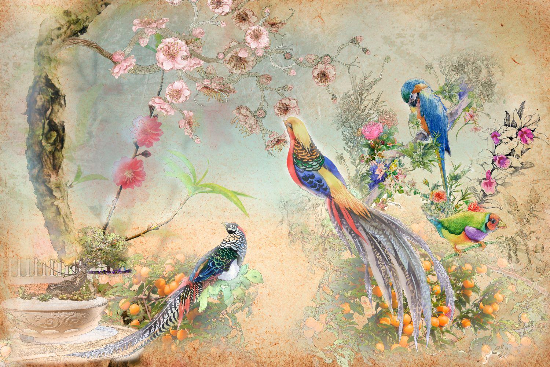 Фотообои «Шинуазри с экзотическими птицами»