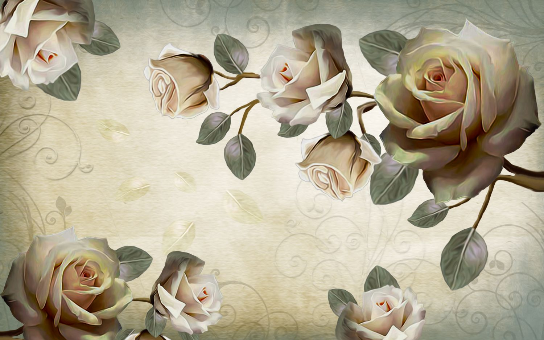 Фотообои «3D ветка розы»