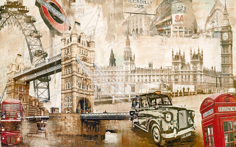 Фотообои «Символы Лондона винтаж»