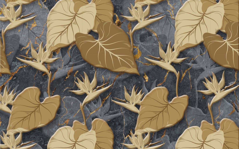 Фотообои «Листья на темном фоне»