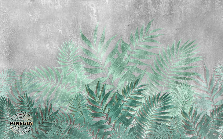 Фотообои «Листья на сером фоне»