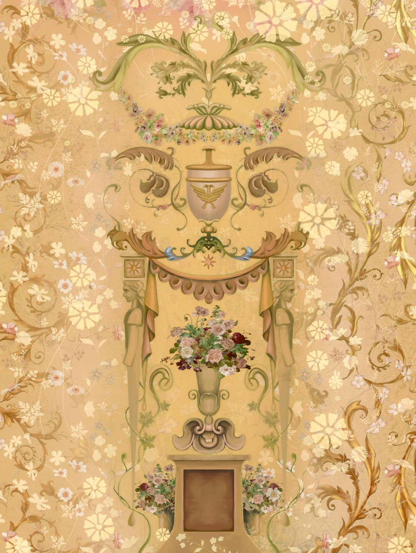 Фотообои «Цветочный орнамент с вазами»