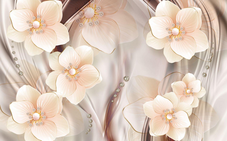 Фотообои «Цветы персиковый оттенок»