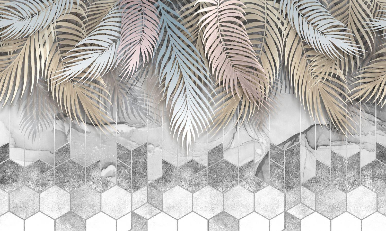 Фотообои «Мозаика с листьями пальмы»