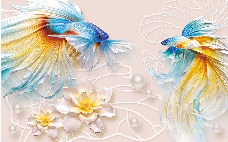 Фрески «Яркие рыбы и лотосы»