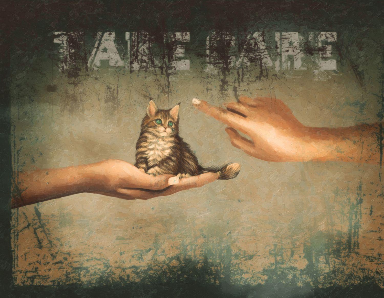 Фрески «Котенок винтаж»