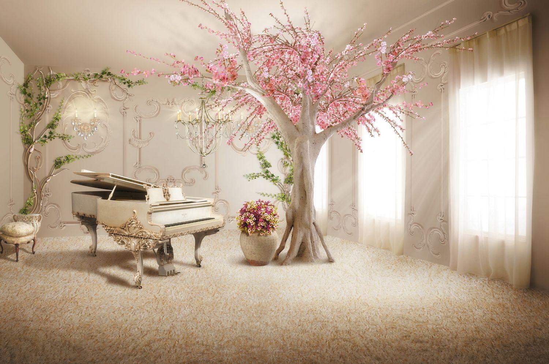 Фотообои «Рояль и сакура в комнате»