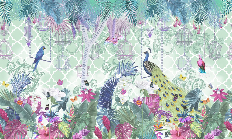 Фотообои «Красочный лес и птицы»