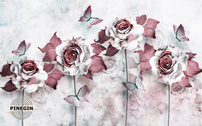 Фотообои «Танец бабочек и роз»