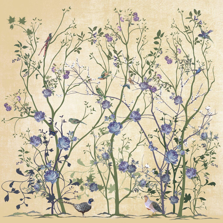 Фотообои «Шинуазри с синими цветами»