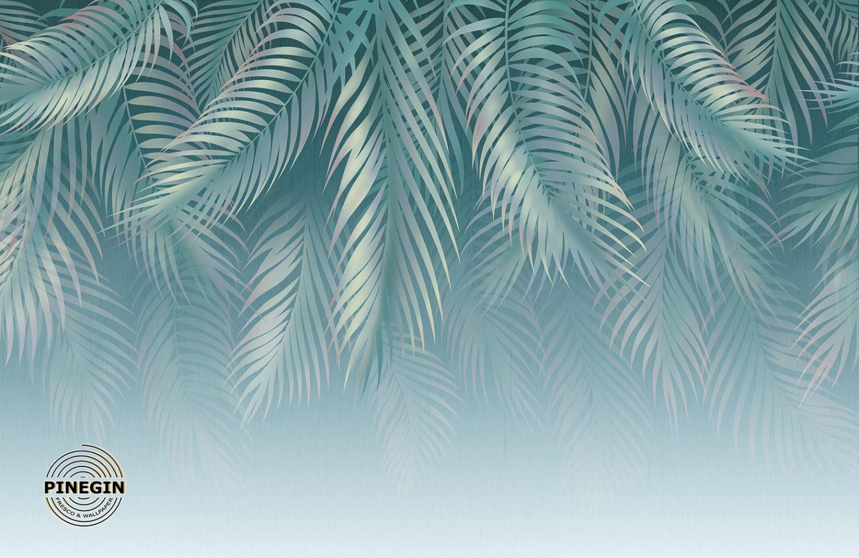 Фотообои «Голубые пальмовые листья»