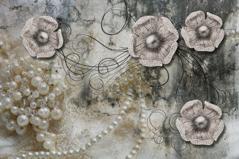 Фотообои «Бусы из белого жемчуга»