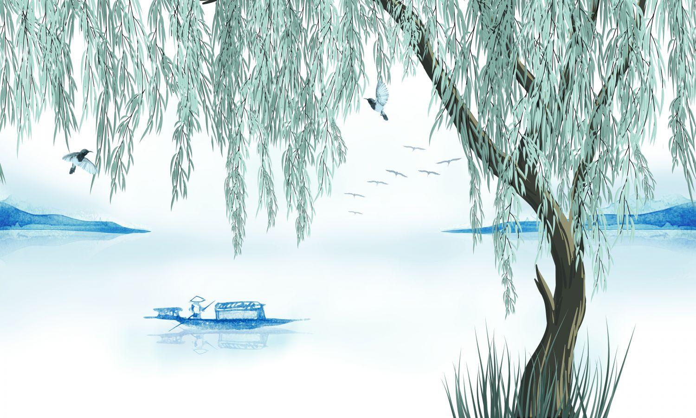 Фотообои «Дерево около пруда»