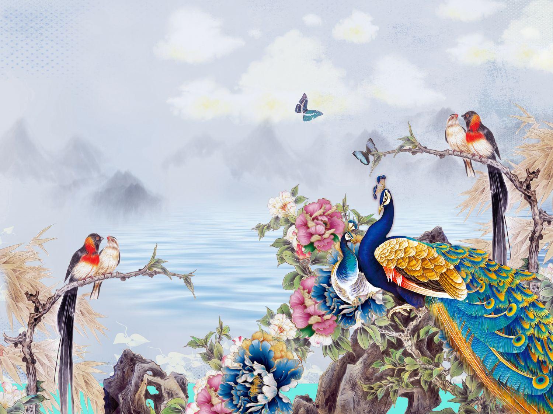Фотообои «Шинуазри разные птицы»