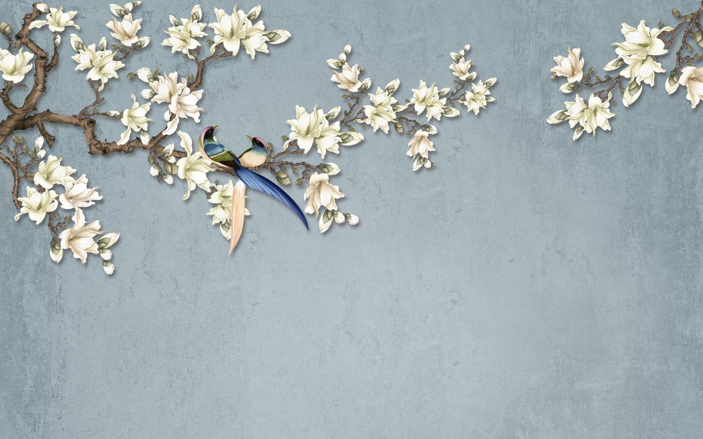 Фотообои «Шинуазри райские птицы на ветке»