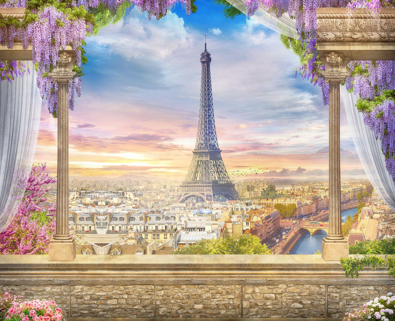 Фотообои «Эйфелева башня и цветы»