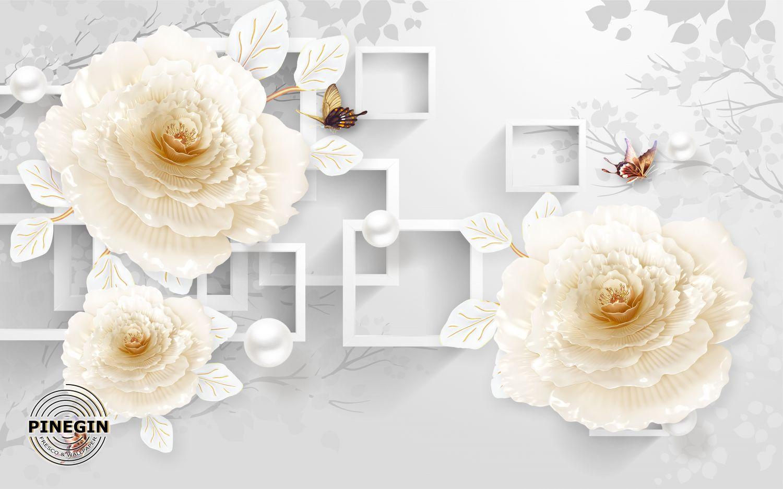 Фотообои «ЗД белые розы»