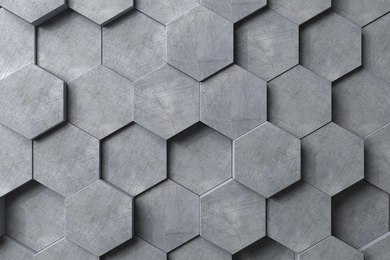 Фотообои «Бетонные шестиугольники 3D»