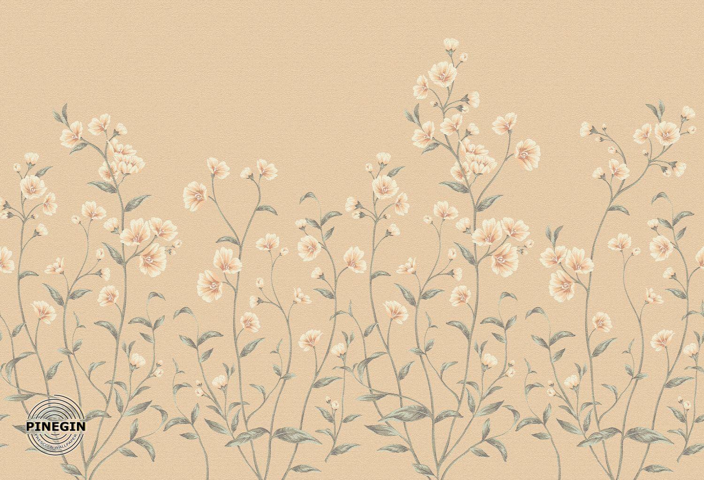 Фотообои «Цветы на коричневом фоне»