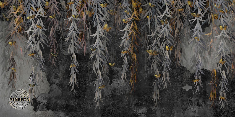 Фотообои «Бабочки на листьях»