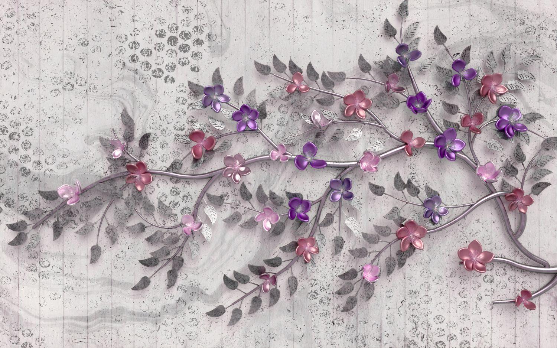 Фрески «Объемные цветы розовые оттенки»