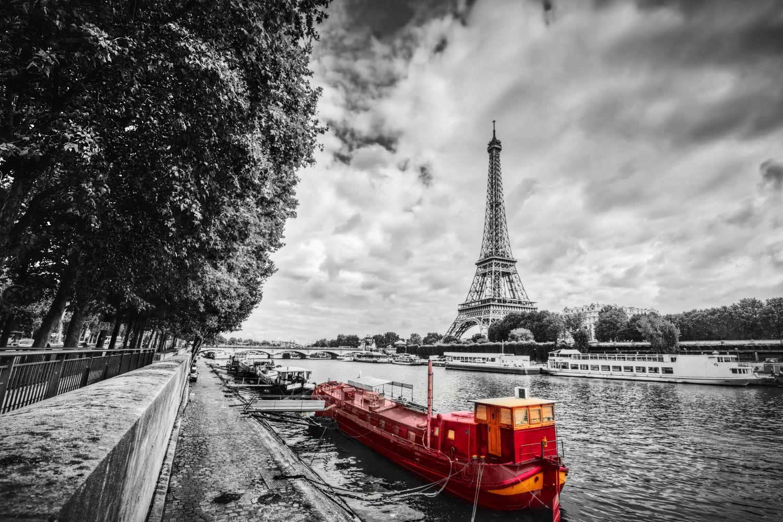 Фотообои «Морское судно, Эйфелева башня»