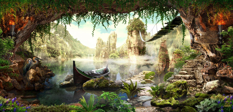 Фотообои «Лодка, мост, сказочный вид»