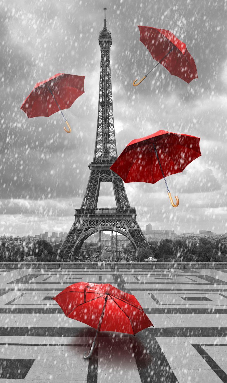 Фотообои «Красные зонтики, дождь, Париж»