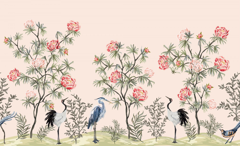 Фотообои «Шинуазри цапли в цветах»