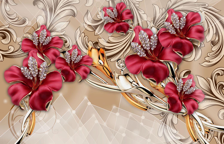 Фотообои «Цветы красный оттенок»