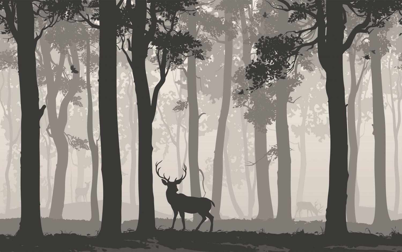 Фотообои «Одинокий олень в лесу»