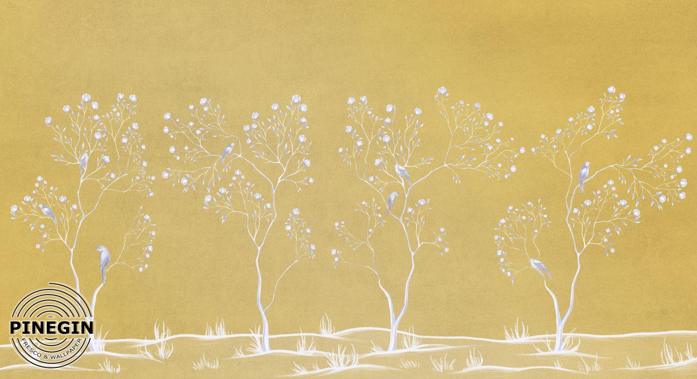 Фотообои «Шинуазри на золотом фоне»