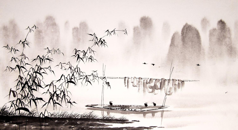 Фотообои «Шинуазри туманная река »
