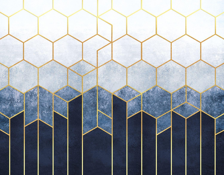 Фотообои «Мозаика на синем бетоне »