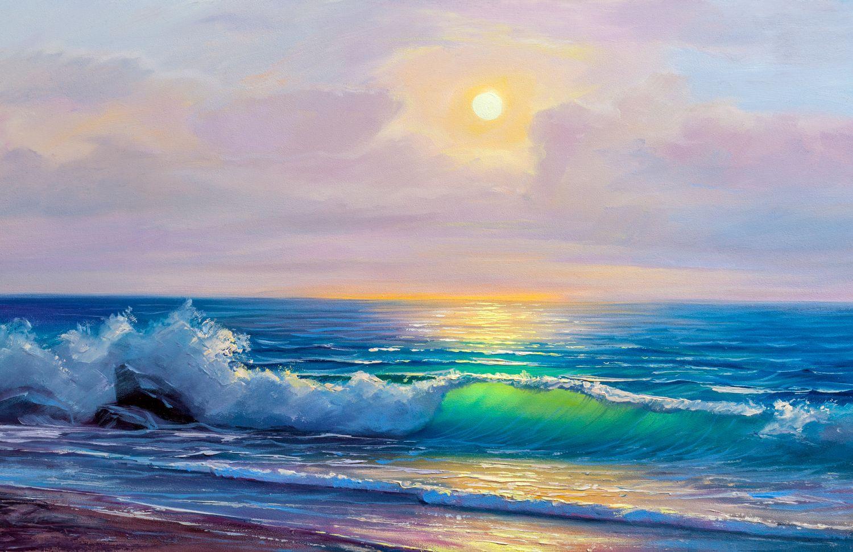 Фрески «Закат на море живопись »