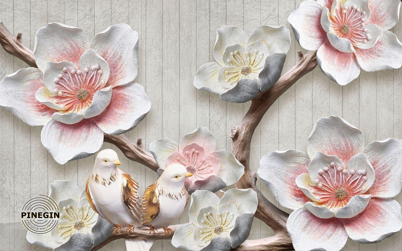 Фотообои «Нежные цветы и голуби»