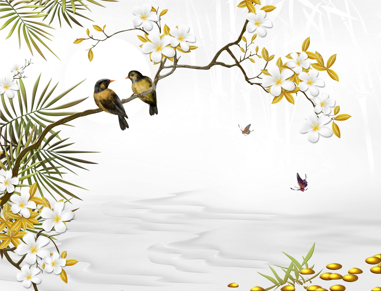 Фотообои «Птицы на ветке»