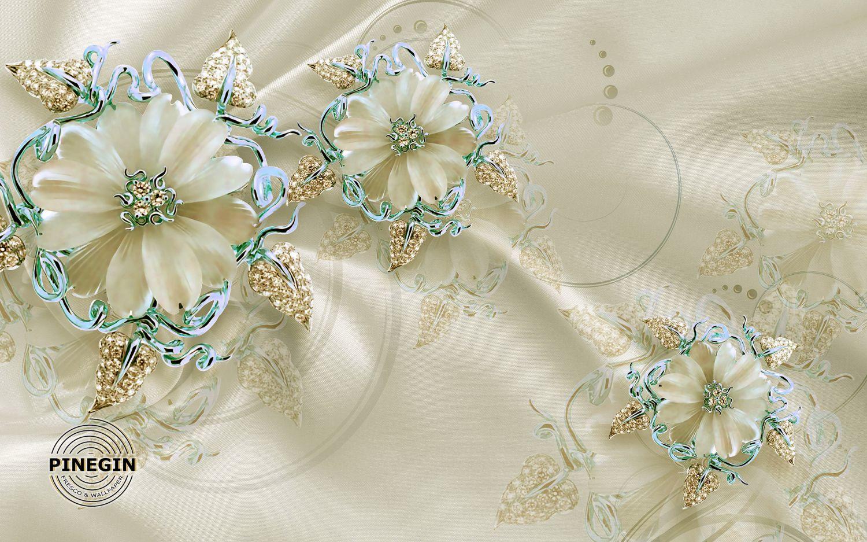 Фотообои «Перламутровые цветы на шелке»