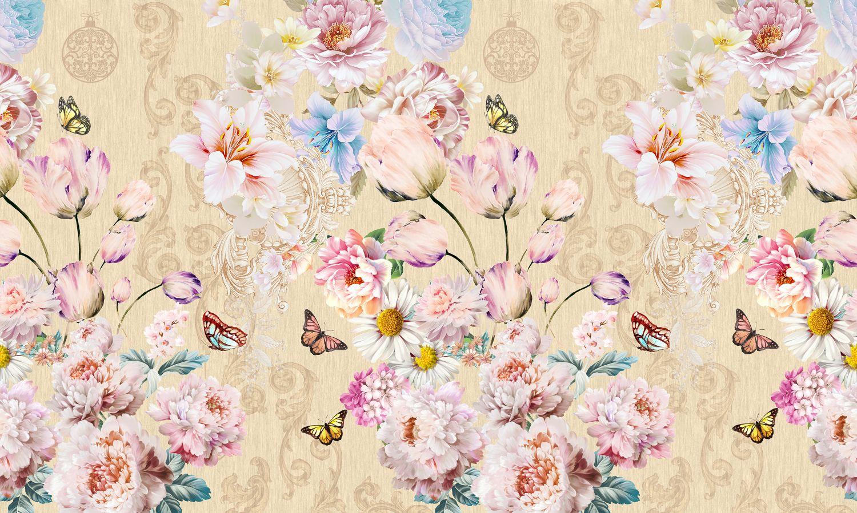 Фрески «Бабочки в цветах»