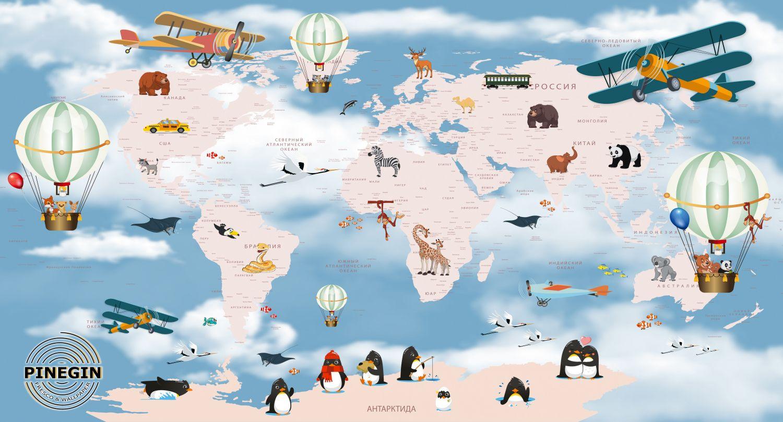 Фотообои «Карта самолетики »