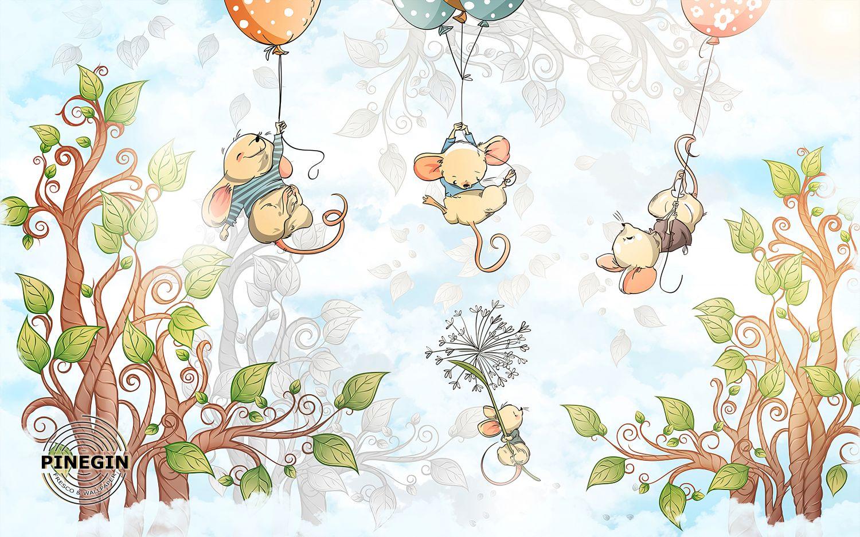 Фотообои «Мышки на шариках»