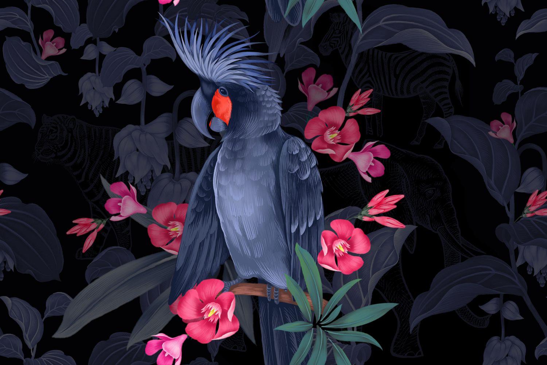 Фрески «Какаду на цветущей ветке в ночи»