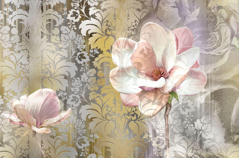 Фотообои «Цветы в серебре »