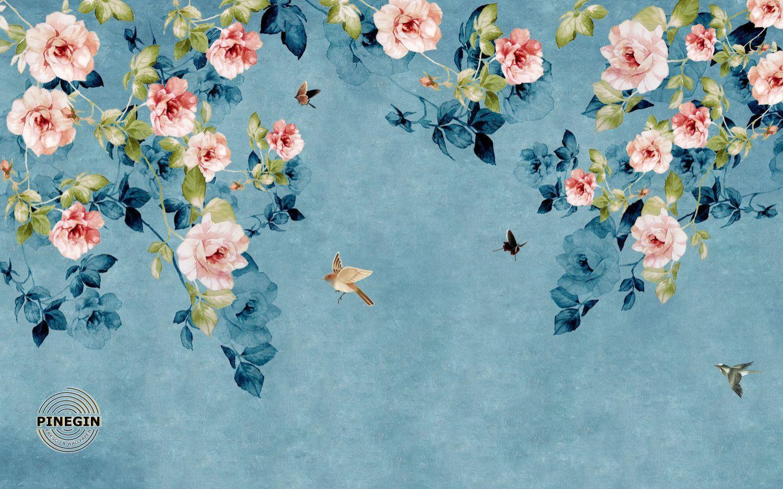 Фотообои «Розы на синем фоне»
