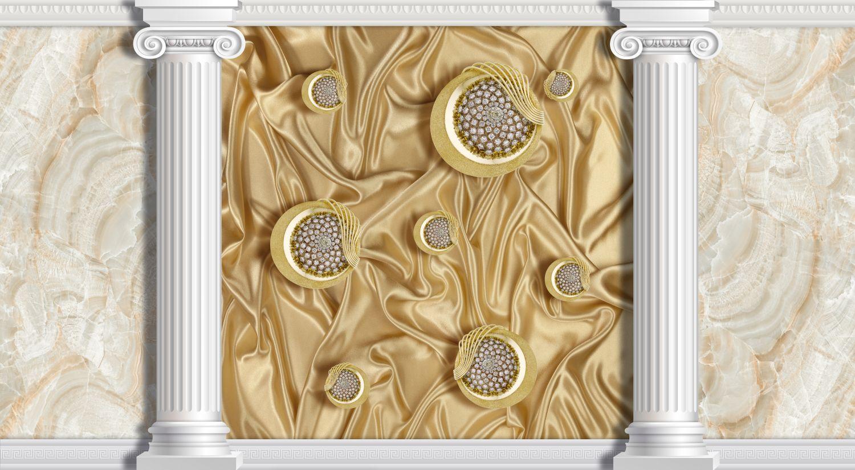 Фотообои «Стена с колоннами и шелковой абстракцией»