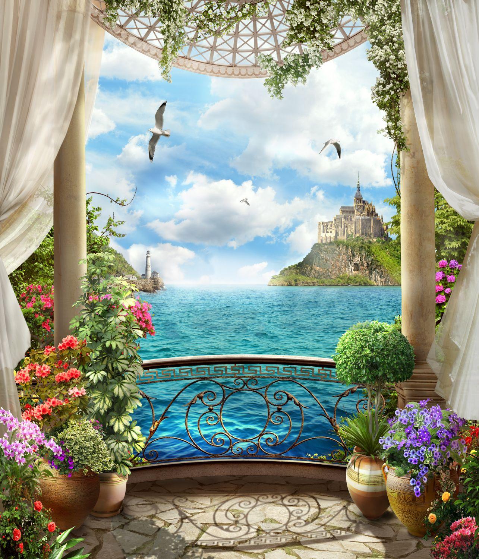Фотообои «Балкон с видом на море»