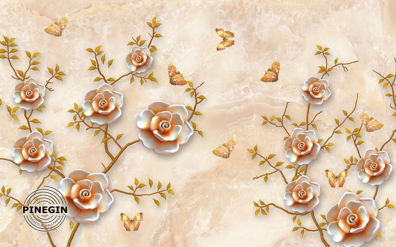 Фотообои «Кустарники роз и бабочки»
