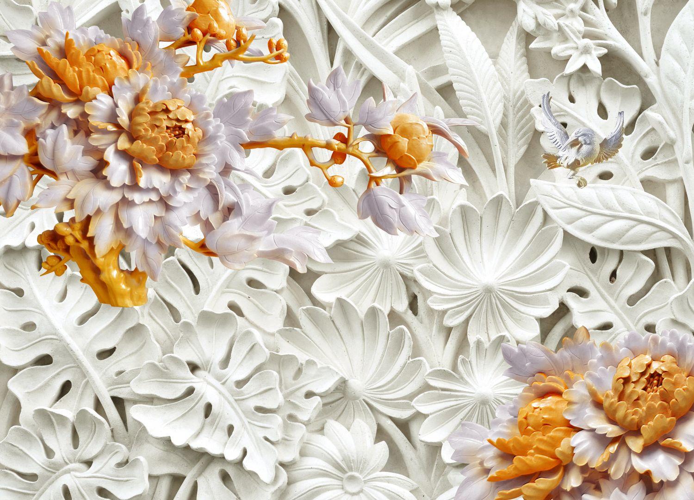 Фотообои «Барельеф в бронзовых цветах»