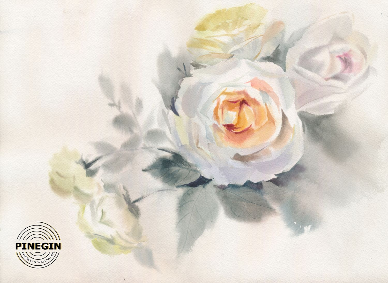 Фотообои «Акварельная белая роза»